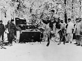 Finnische Soldaten im Winterkrieg.