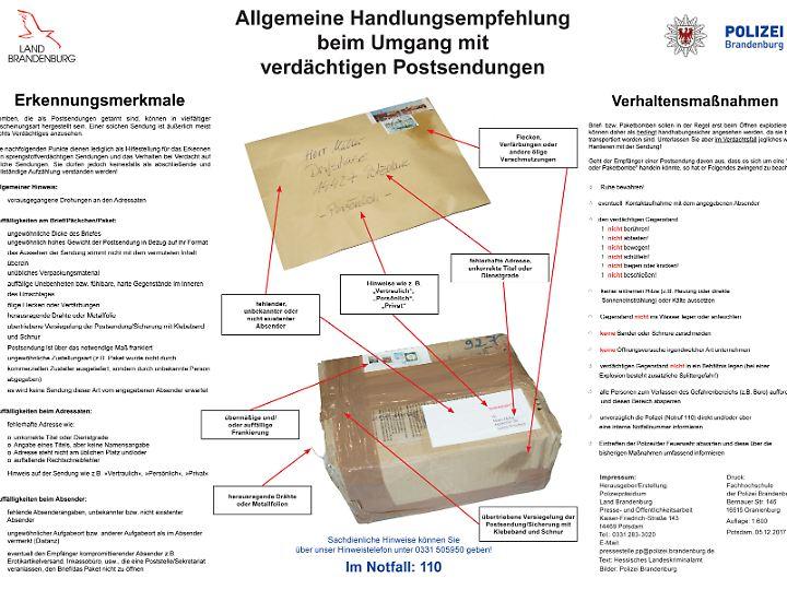 Was macht ein Paket verdächtig? Die Polizei Brandenburg informiert Paketempfänger.