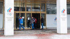 Der Eingang des Russischen Olympischen Komitees in Moskau.
