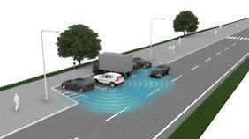 Der Querverkehrswarner schützt vor ungewollten Kollisionen wenn das Auto rückwärts aus der Parklücke stößt.