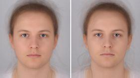 Die beiden Bilder, die aus Fotos von 16 Probanden zusammengesetzt wurden, zeigen eine kranke und eine gesunde Person (l.).