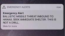 Mit dieser Nachricht werden die Hawaiianer vor einer Rakete gewarnt.