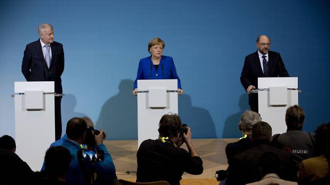 Horst Seehofer (CSU) Angela Merkel (CDU) und Martin Schulz (SPD).