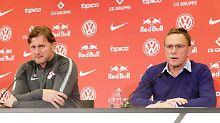 Die Stimmung in Sachsen ist derzeit nicht die allerbeste. Trainer Ralph Hasenhüttl (l.) schafft keine sportlichen Erfolgserlebnisse, Sportdirektor Ralf Rangnick moniert die Transfers.