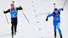 Beim letzten Schießen überholt dann auch noch der Italiener Dominik Windisch Pfeiffer und ...
