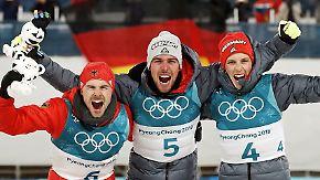 Freud und Leid im deutschen Team: Kombinierer feiern Dreifachsieg, Biathleten trauern
