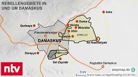 Ghuta erstreckt sich von der syrischen Hauptstadt Damaskus nach Westen, Süden und Osten.
