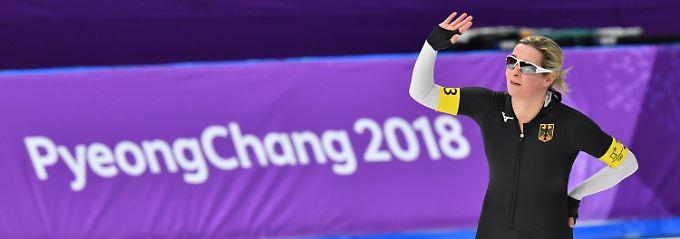 Ein letztes Hallo? Für Claudia Pechstein könnte der Massenstart den Abschied von der Olympiabühne bedeuten.