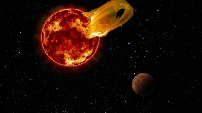 Ein gewaltiger Flare bricht aus Proxima Centauri aus - hier in einer Computergrafik.