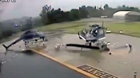 Horrorcrash in Pasadena: Kollision reißt zwei Helikopter in Stücke