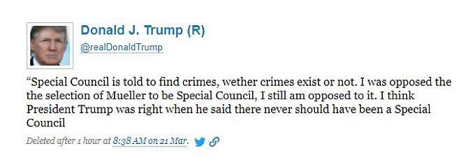 Ein am Mittwoch gelöschter Tweet von Donald Trump.