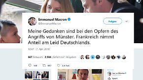 Große Anteilnahme an Bluttat von Münster: Trump betet, Putin kondoliert, Macron twittert auf Deutsch