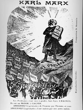 Diese französische Karikatur stellt Marx als Moses beim Vorstellen der zentralen Punkte des Kommunismus dar.