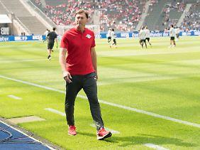 Erst gefeiert, bald gefeuert? Ob Ralph Hasenhüttl in der neuen Saison Trainer von RB Leipzig bleibt, ist offen.