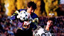 Beweisfoto: Stanislaw Tschertschessow am 29. Oktober 1994 im gar nicht mal so schönen Trikot der SG Dynamo Dresden.
