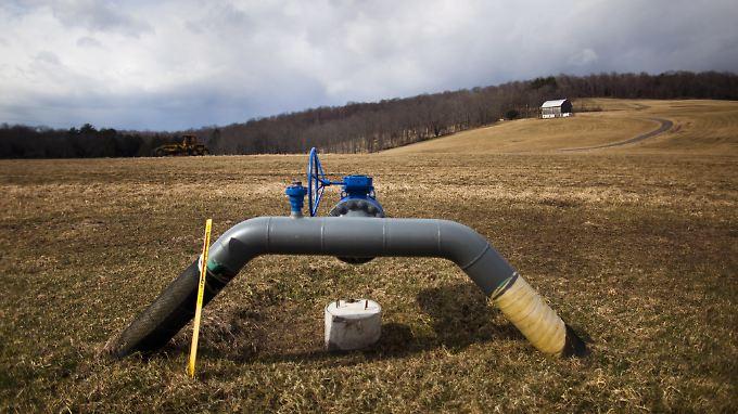 Eine Gas-Pipeline auf einer Farm im US-Staat Pennsylvania. In den USA ist Fracking bereits weit verbreitet.
