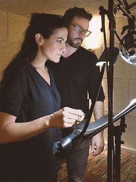 Im Studio: Zimmermann und Luca.