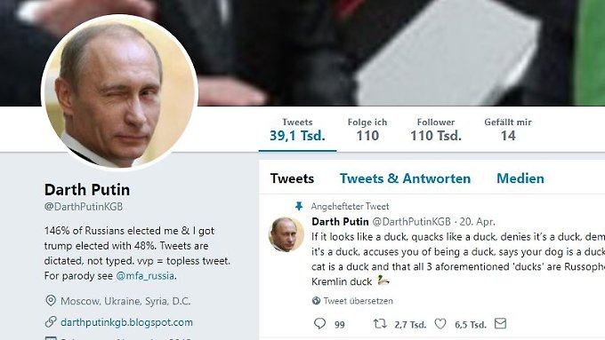 110.000 Follower hat der Putin-Parodist auf Twitter.