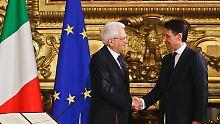 Vereidigung vor Europa-Fahne: Giuseppe Conte ist Italiens neuer Regierungschef.