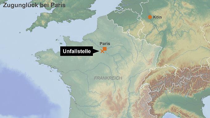 Unfallstelle am Stadtrand von Paris: Am frühen Morgen befanden sich nur wenige Berufspendler im Zug.