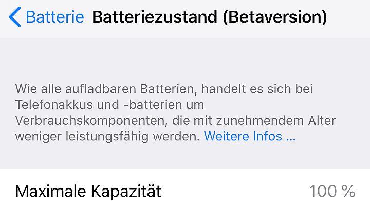 Beim kommenden iOS 12 können Nutzer sehen, welche Kapazität der Akku noch hat.