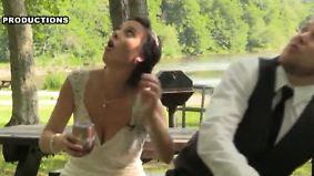 Kaum zu glauben, aber wahr: Herabstürzender Ast verfehlt Brautpaar nur knapp