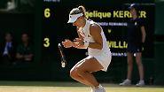 """""""Schon als ich ein kleines Kind war, wollte ich Wimbledon gewinnen. Ich bin überglücklich"""", sagte Kerber in einem ersten Fernseh-Interview nach ihrem Sieg."""