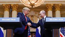 Donald Trump und Wladimir Putin trafen sich zu einem Vier-Augen-Gespräch in Helsinki.