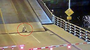 Kaum zu glauben, aber wahr: Klappbrücke verschluckt Fahrradfahrerin