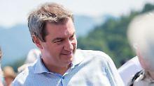 Blieb bei dem Vorfall unverletzt: Bayerns CSU-Ministerpräsident Markus Söder.