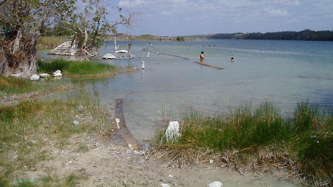 """Blick auf den See Chichancanab, den Ort der Studie. Chichancanab bedeutet """"Kleines Meer"""" in yukatekischem Maya - der Name nimmt Bezug auf sein relativ salziges Wasser, das hauptsächlich aus Kalzium und Sulfat besteht."""
