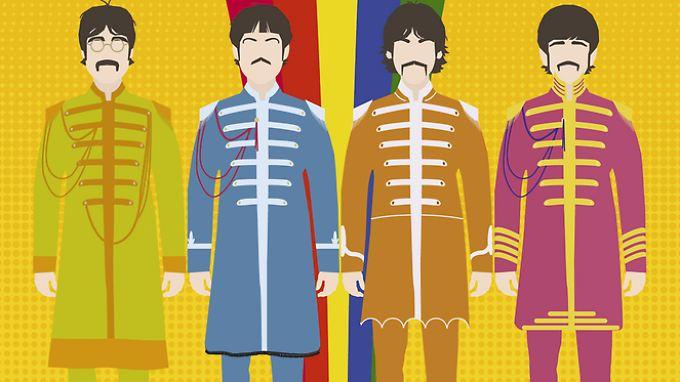 """Erkennen Sie sie? Natürlich: John Lennon, Paul McCartney, George Harrison und Ringo Starr in ihren """"Sgt. Pepper""""-Outfits."""