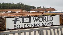 Einen Tag vor Beginn der Weltmeisterschaften in acht Pferdesport-Diszilinen glichdas Wettkampf-Gelände in Tryon noch einer Baustelle