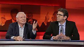 """Oskar Lafontaine und Wolfram Weimer bei """"Hart aber fair""""."""