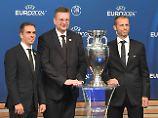 DFB-Präsident Reinhard Grindel und Philipp Lahm können sich über den deutschen Erfolg freuen.