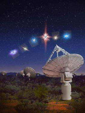Australien, Boolardy: kurze Radioblitze am Himmel über dem ASKAP-Radioteleskop-Array im Murchison Radio-Astronomie-Observatorium (Computergrafik). ASKAP wird von Australiens staatlicher Forschungsagentur CSIRO betrieben.