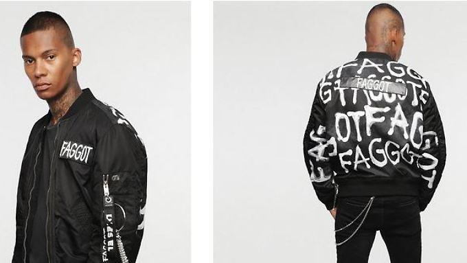 Die Jacke ist Teil einer Kollektion, die sich mit Hass befasst.