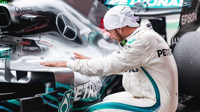 Zufrieden mit seinem Auto: Lewis Hamilton.