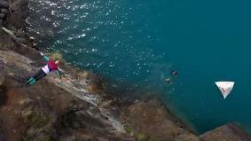 Extremsport vor atemberaubender Kulisse: Klippenspringer suchen Adrenalinkick in Chile