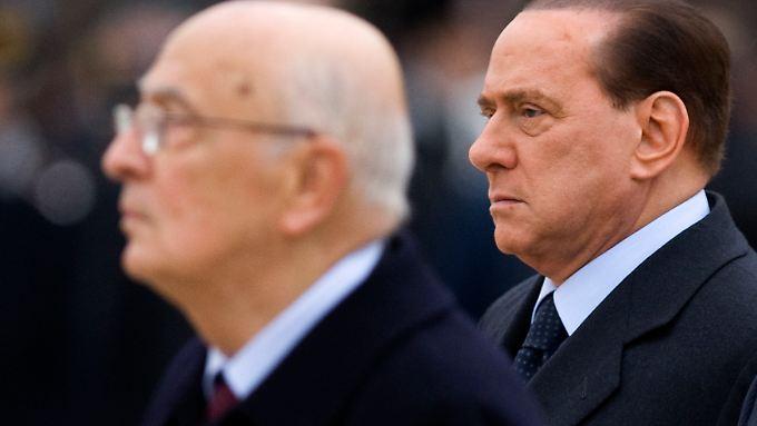 Werden wohl keine Freunde mehr: Napolitano (l.) und Berlusconi.