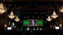 Mann gönnt sich ja sonst nichts: TD-Chef Ed Clark auf der Hauptversammlung im März.