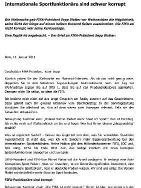 Replik auf vier Seiten: Roland Büchel kommentiert in seinem offenen Brief die Blatter-Behauptung, es gebe keine systematische Korruption in der Fifa.