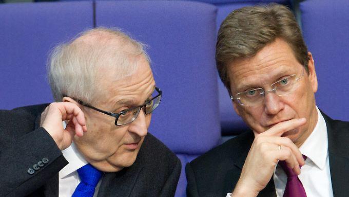 Betretene Gesichter: FDP-Politiker Brüderle und Westerwelle.