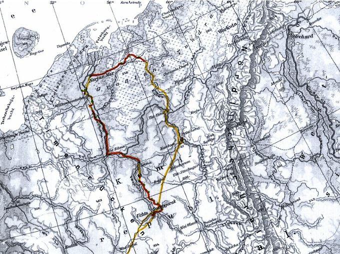 Die Route durch Nordrussland im Februar/März 2010: Die mit dem Rad zurückgelegte Strecke ist rot gekennzeichnet. Sie beginnt nördlich des Polarkreises.