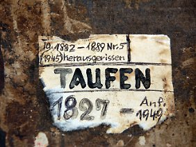 """""""Taufen"""" steht auf dem Buchrücken des Taufbuchs der Gemeinde Zerrenthin, in dem Gottlieb Wittstock einen Eintrag hat."""