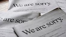 Murdoch entschuldigt sich in sieben großen britischen Zeitungen mit einer Anzeigenkampagne für den Abhörskandal.