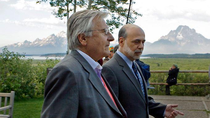 Zentralbanker beim Plausch: EZB-Chef Trichet (l.) und Fed-Chef Bernanke.
