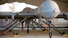 Eine Drohne in einem Hangar auf dem US-Stützpunkt Bagram.