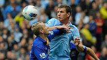 """""""Das Spiel in München ist etwas ganz Besonderes für mich"""": Edin Dzeko, Manchester City, hier beim Sieg gegen den FC Everton."""
