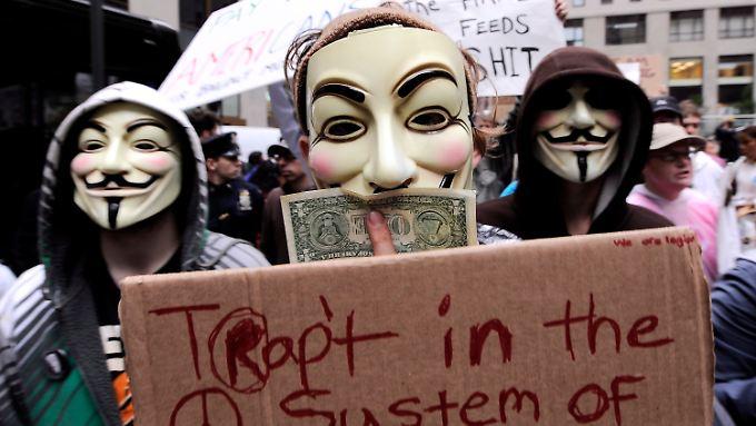 Anonymous-Aktivisten an der Wall Street.